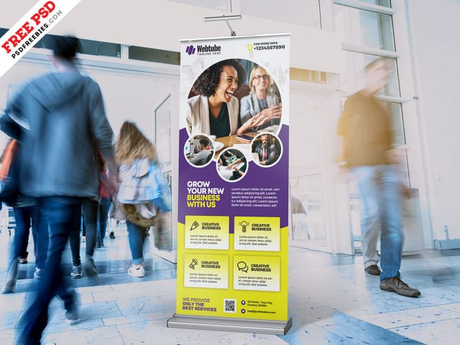 Company Promotional Roll up Banner PSD