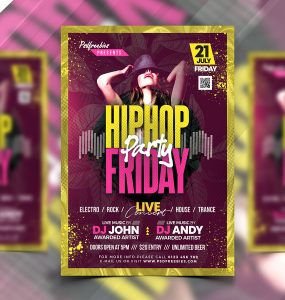HipHop Friday Party Flyer PSD