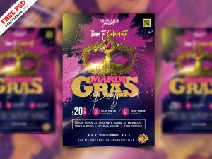 Mardi Gras Party Flyer PSD