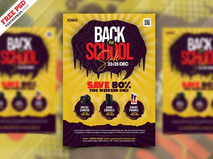 Back to School Season Sale Flyer PSD