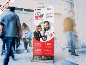Business Promotion Roll Up Banner Design PSD