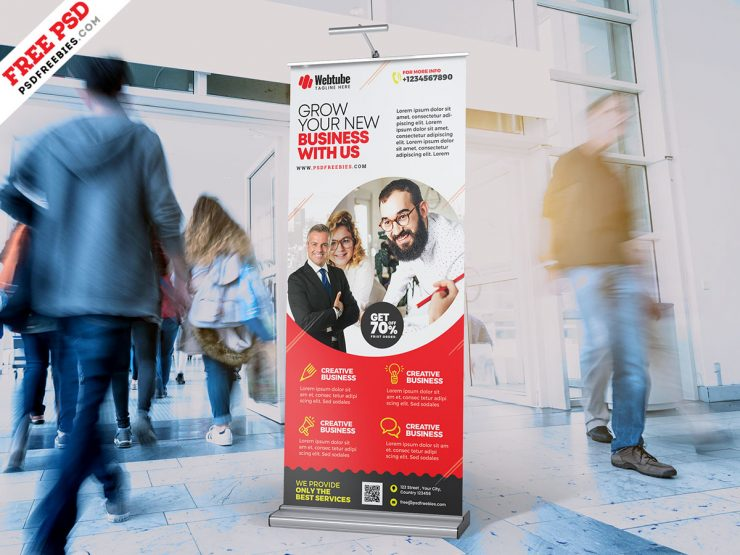 Business Promotion Roll Up Banner Design PSD