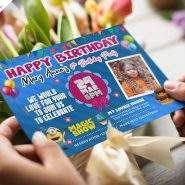 Colorful Birthday Invitation Card PSD Design