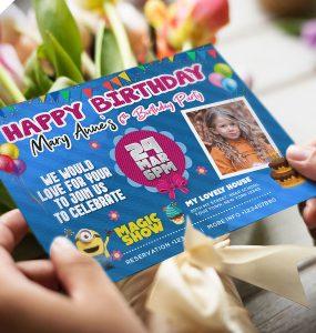 Colorful Birthday Invitation Card PSD Design