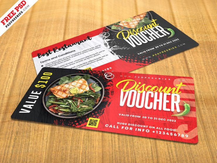 Food Meal Discount Voucher PSD Template
