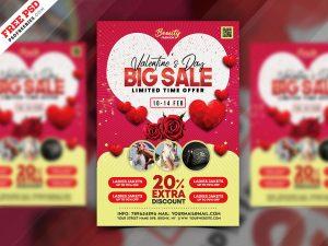 Happy Valentine's Day Sale Promotion Flyer PSD