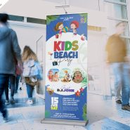 Kids Beach Party Rollup Banner PSD