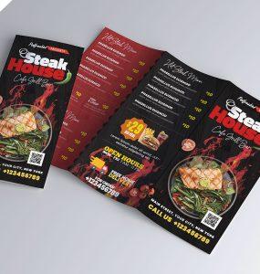 Modern Food Menu Trifold Brochure PSD