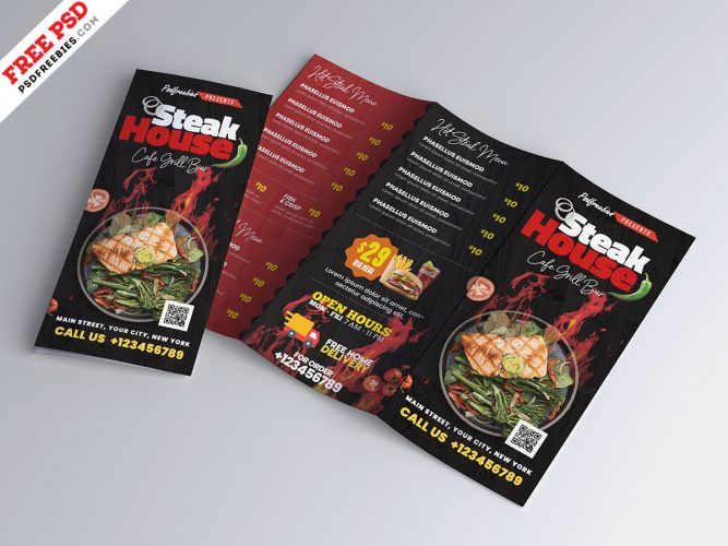 Modern Food Menu Trifold Brochure PSD