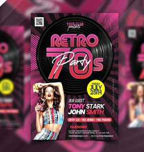 Retro Theme Music Party Flyer PSD