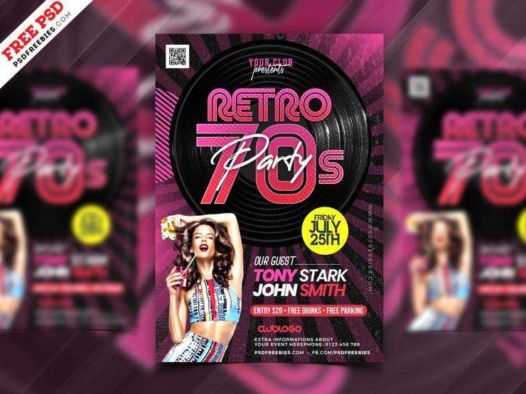 Retro Theme Music Party Flyer PSD