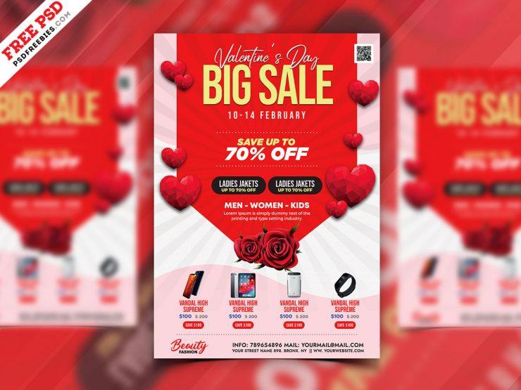 Valentine's Day Sale Promotion Flyer PSD