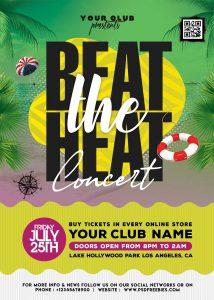 Beat the Heat Summer Music Event Flyer PSD