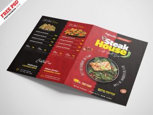 Bi-Fold Square Food Menu Brochure PSD