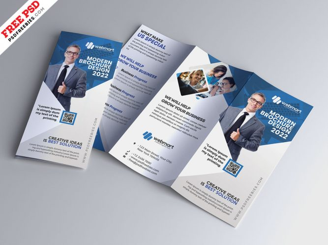 Business Marketing Tri-Fold Brochure Design PSD