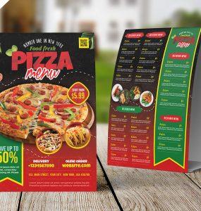 Designer Food Menu Tent Card PSD Template
