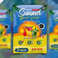 Summer Drinks Menu Cover Design PSD