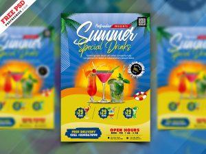 Summer Drinks Menu Cover Design PSD