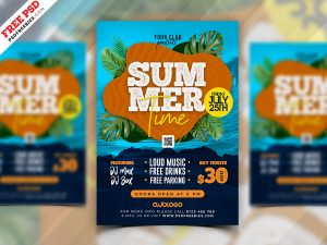 Summer Time Party Event Flyer PSD