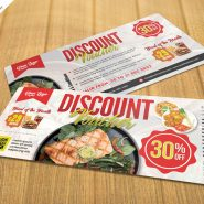 Food Restaurant Discount Voucher PSD Template
