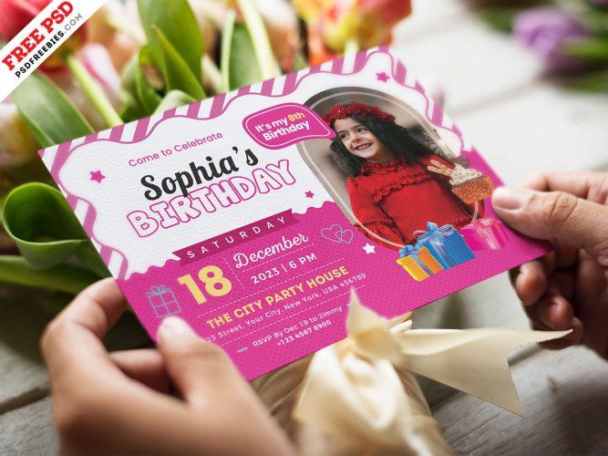 Kids Birthday Party Invitation Template PSD