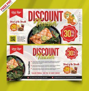 Food Restaurant Discount Voucher PSD Template