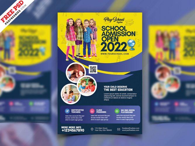 School Admission Pamphlet Flyer Design PSD