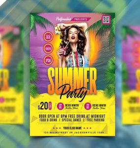 Hot Summer Party Flyer Design PSD