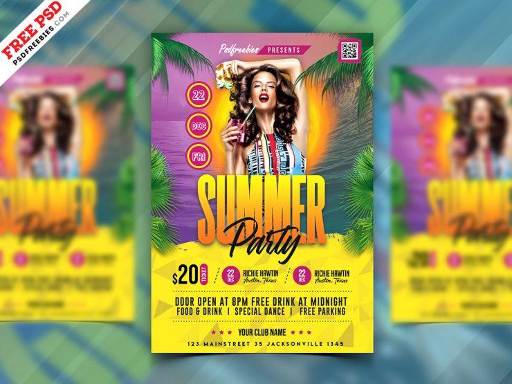 Hot Summer Party Flyer Design PSD