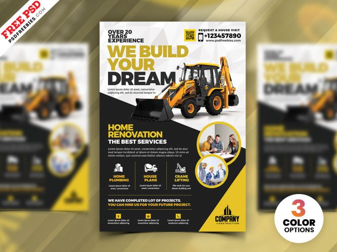 Construction Company Flyer Template PSD