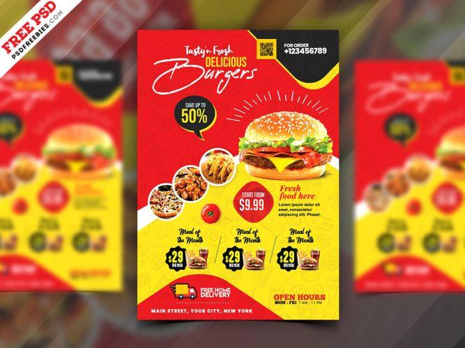 Fast Food Flyer Design PSD Template