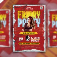Friday Night Club Party Flyer Free PSD