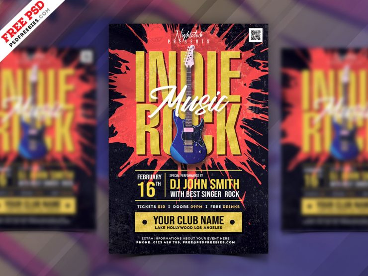 Indie Rock Music Festival Flyer PSD