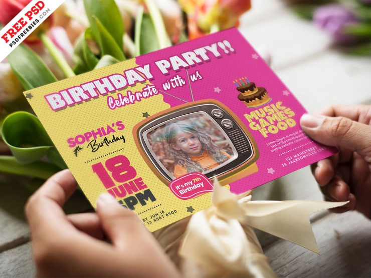 Kids Birthday Invitation Card PSD Template