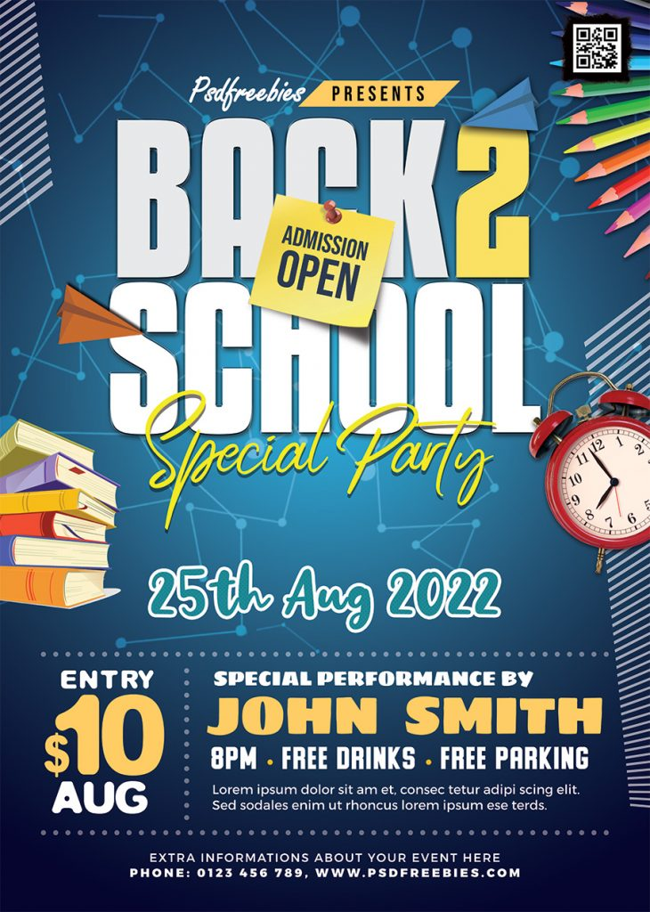 Colorful Back to School Party Flyer PSD