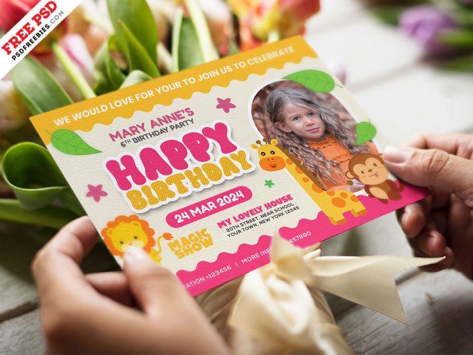 5x7 Designer Birthday Invitation Card PSD
