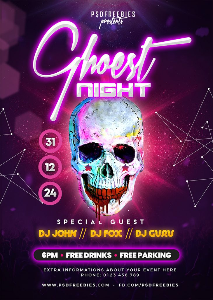 Halloween Ghost Theme Party Flyer PSD