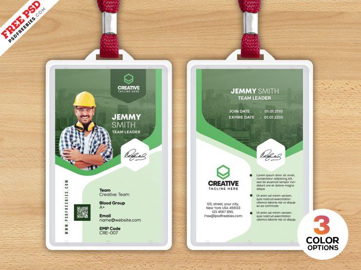 Construction Company ID Card Format PSD