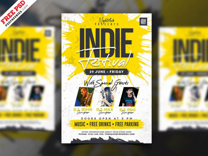 Indie Music Festival Event Flyer PSD