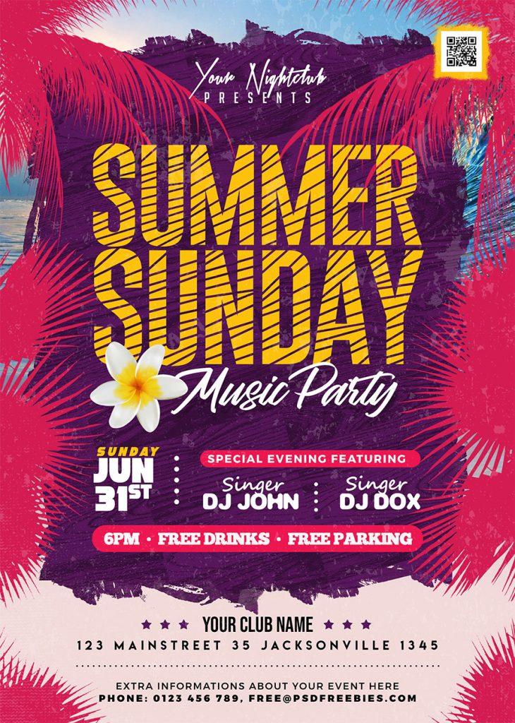 Sunday Summer Party Flyer PSD